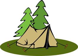 a tent and pine trees